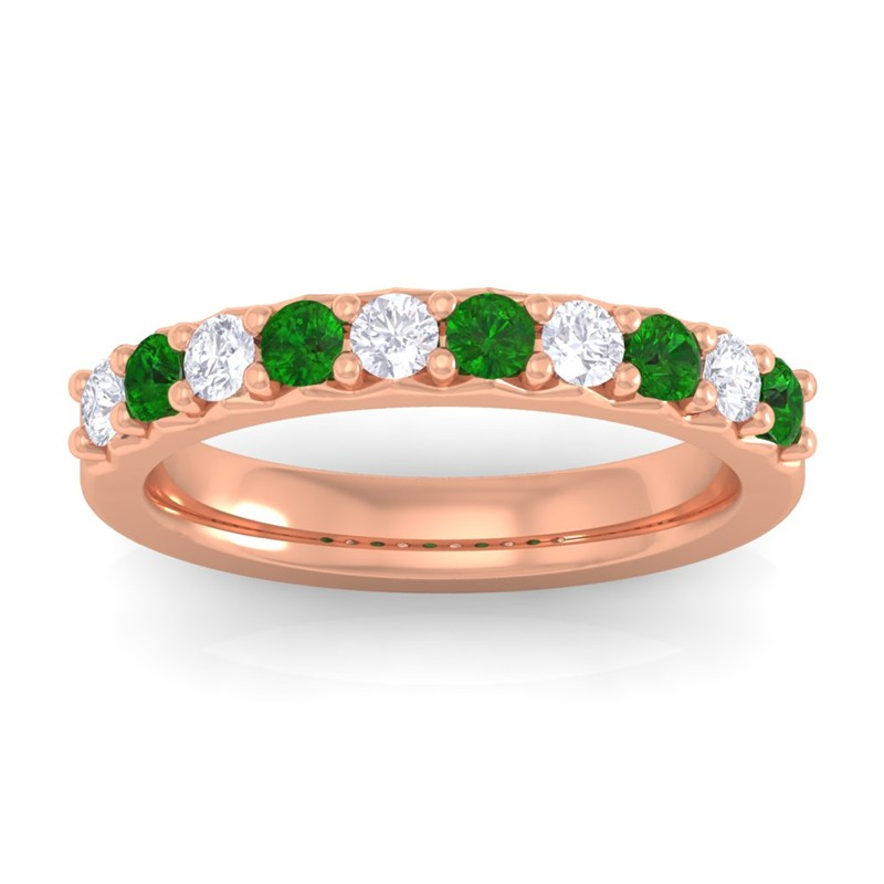 Green-Emerald-Round-Diamonds-Classic-Bridal-Half-Eternity-Band-18K-Rose-Gold