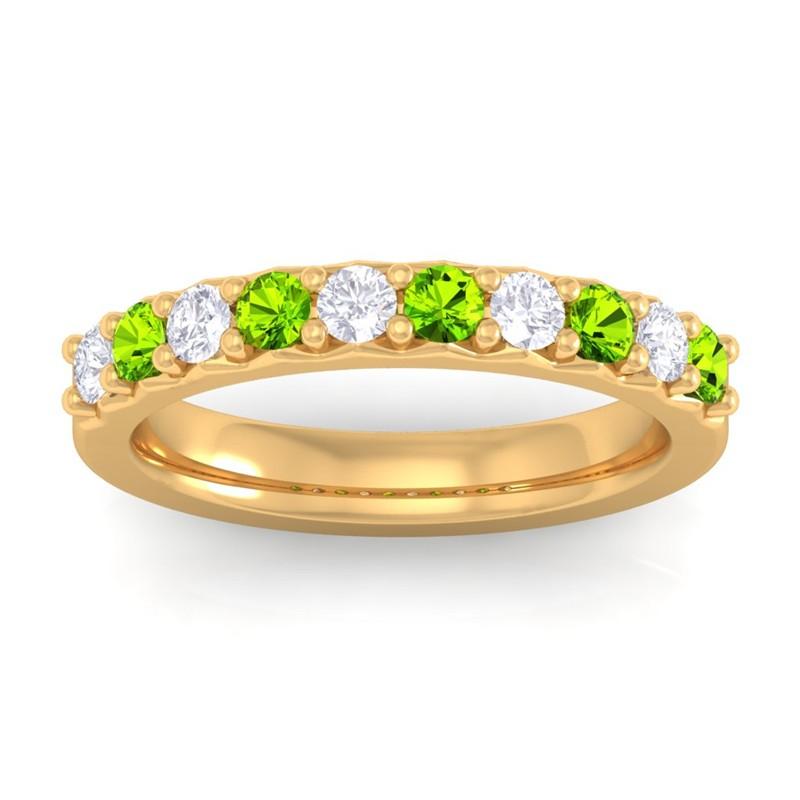 Green-Peridot-IJ-SI-Round-Diamonds-Classic-Half-Eternity-Band-14K-Yellow-Gold
