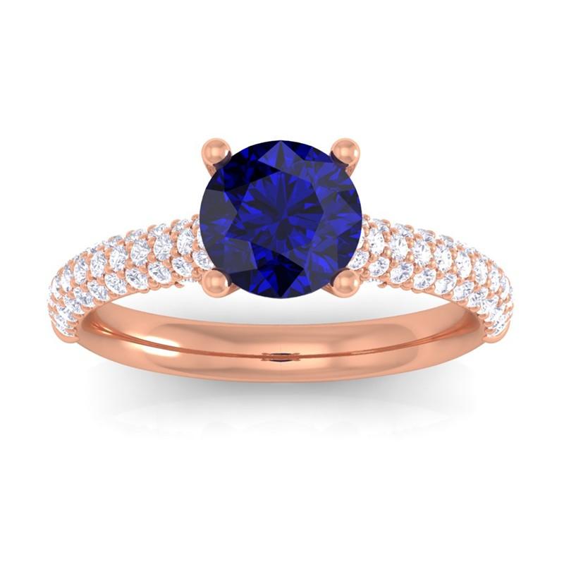 Blue-Sapphire-FG-SI-Diamonds-Solitaire-Gemstone-Ring-Women-10K-Rose-Gold