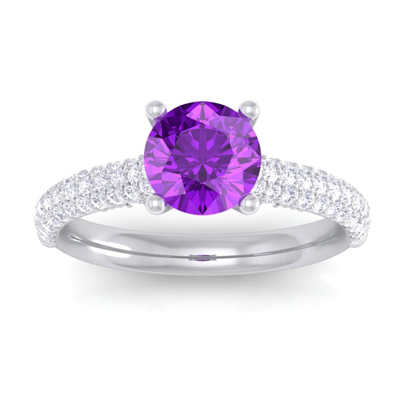 purple amethyst ij si diamonds solitaire gemstone ring