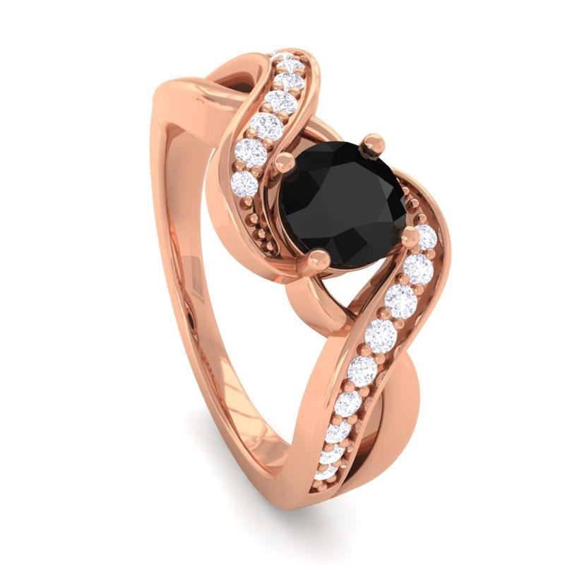 Black Diamond FG SI Diamonds Gem Engagement Ring Women 18K Gold