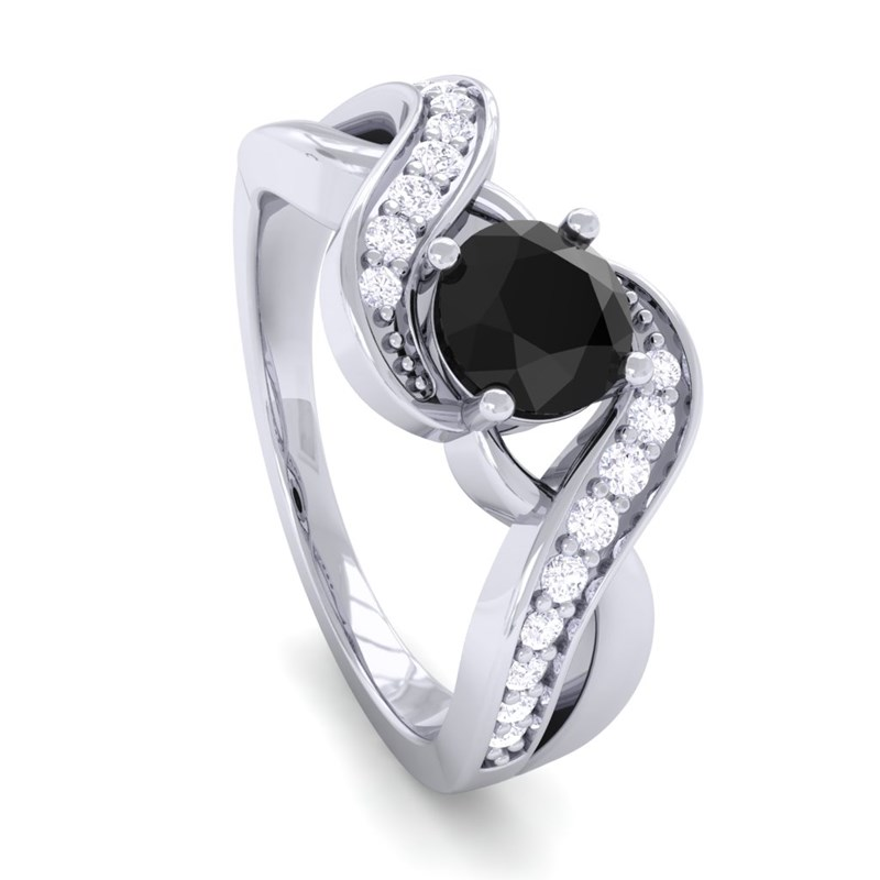 Black yx GH SI Diamonds Gem Engagement Ring Women 14K Gold