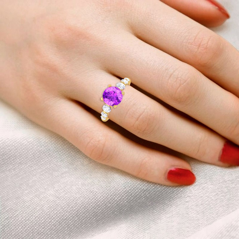 Purple-Amethyst-GH-VS-Natural-Gemstone-Diamonds-Engagement-Ring-Yellow-Gold