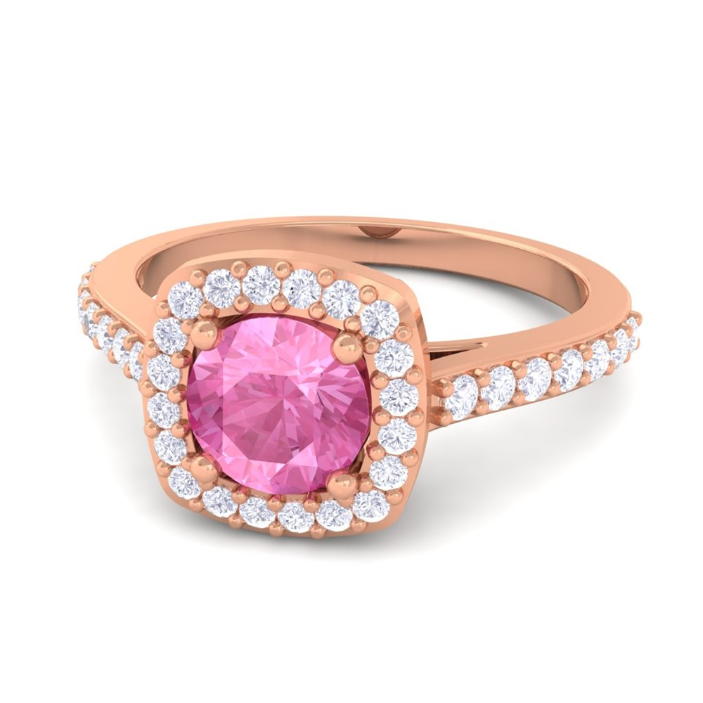 Pink Sapphire IJ SI Fine Diamonds Gemstone Engagement Ring Solid ...