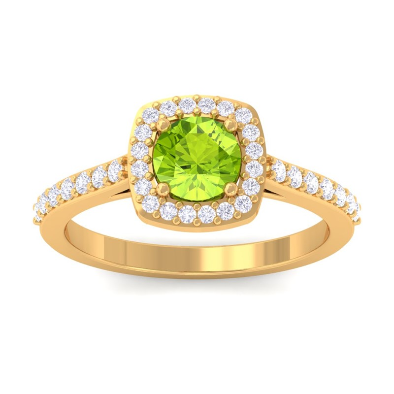 Green-Peridot-IJ-SI-Fine-Diamonds-Gemstone-Engagement-Ring-14K-Yellow-Gold