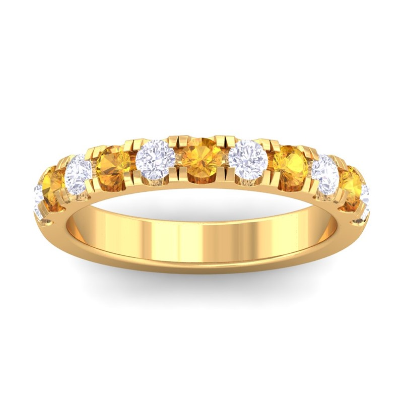 Orange-Citrine-IJ-SI-Diamonds-Half-Eternity-Wedding-Band-Women-10K-Yellow-Gold