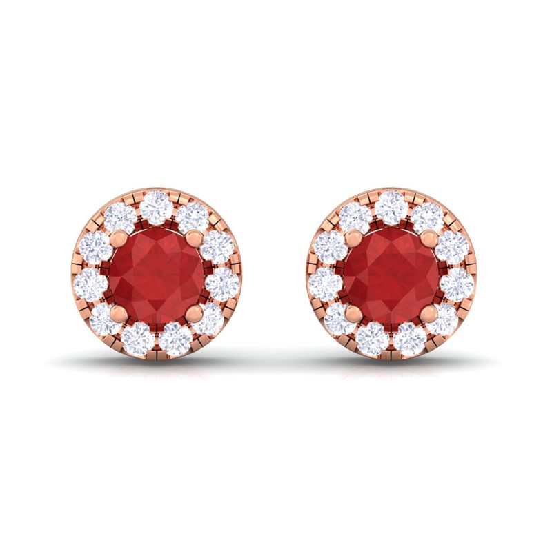 Red-Ruby-IJ-SI-Diamond-Gemstone-Womens-Halo-Stud-Earring-18K-Rose-Gold