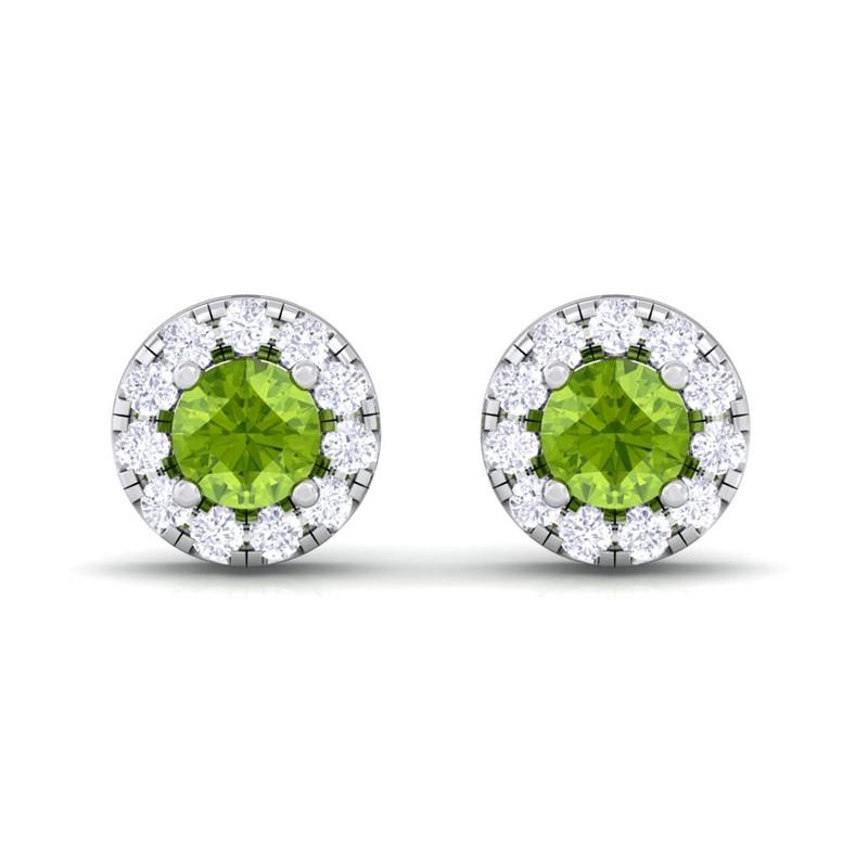 Green-Peridot-FG-SI-Diamond-Gemstone-Womens-Halo-Stud-Earring-14K-Gold