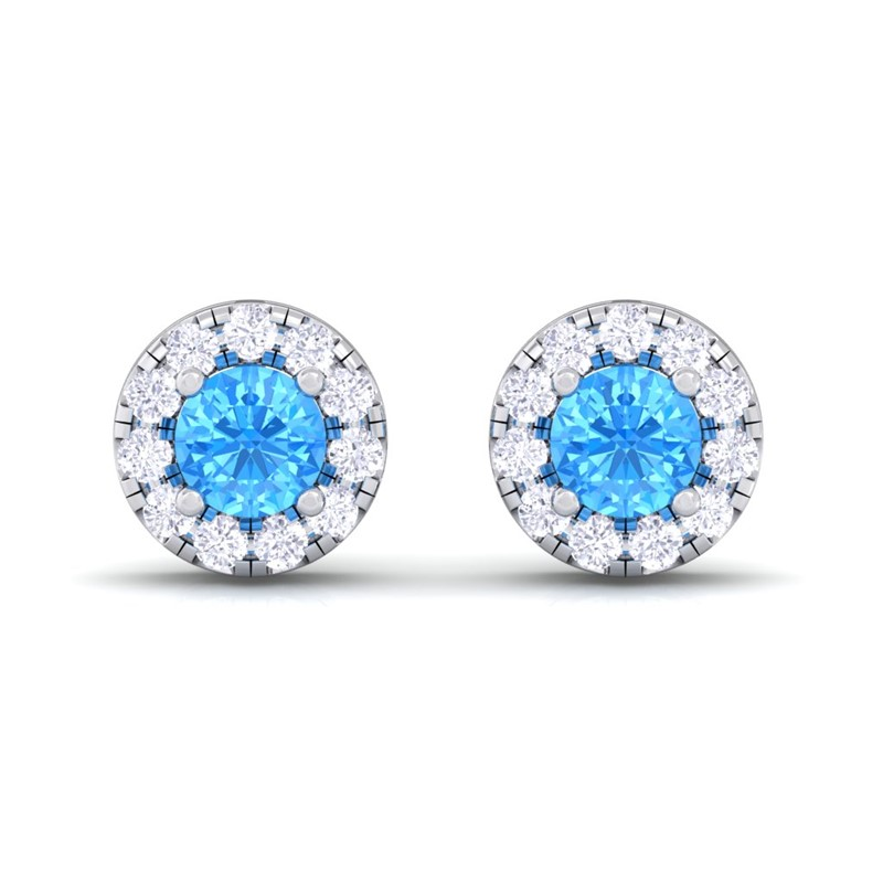 Blue-Topaz-IJ-SI-Diamond-Gemstone-Womens-Halo-Stud-Earring-10K-White-Gold