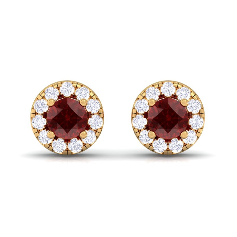 Red-Garnet-IJ-SI-Diamond-Gemstone-Womens-Halo-Stud-Earring-14K-Yellow-Gold
