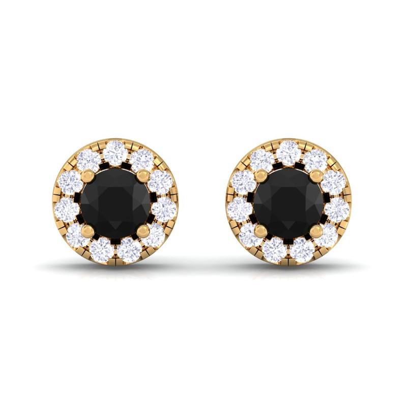 Black-Onyx-Gemstone-Round-Diamonds-Womens-Halo-Stud-Earring-14K-Yellow-Gold