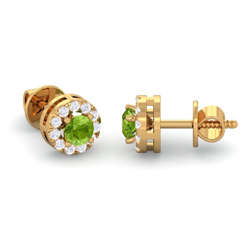 Green-Peridot-GH-VS-Diamond-Gemstone-Womens-Halo-Stud-Earring-Yellow-Gold