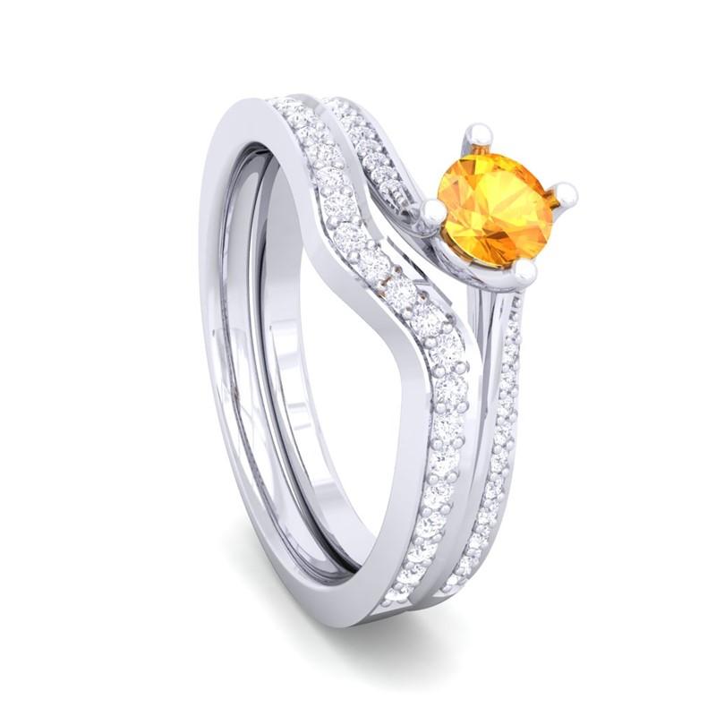 Orange-Citrine-FG-SI-Diamonds-ColorStone-Curly-Wedding-Rings-18K-Gold
