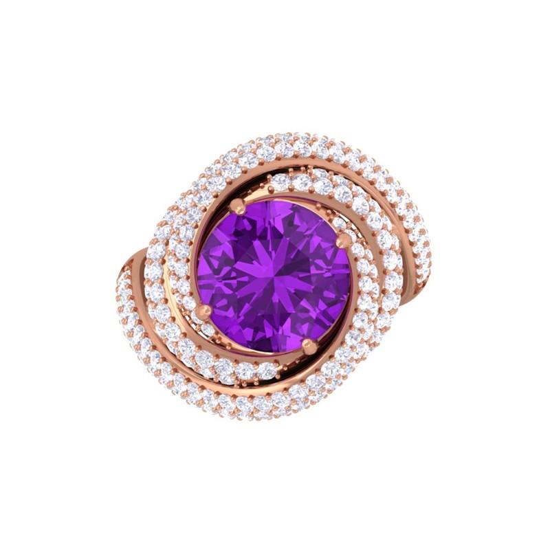 purple amethyst ij si diamonds gemstone engagement ring