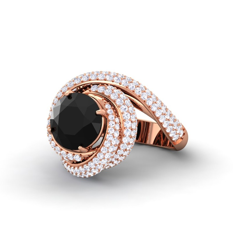 Black yx FG SI Diamonds Gemstone Engagement Ring Womens 10K Gold