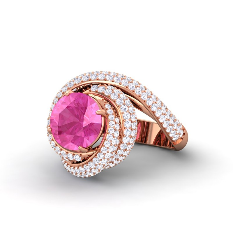 pink sapphire ij si diamonds gemstone engagement ring. Black Bedroom Furniture Sets. Home Design Ideas