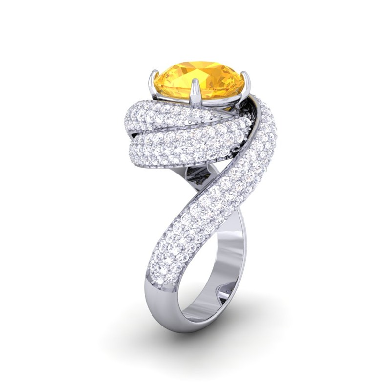 yellow sapphire ij si diamonds gemstone engagement ring. Black Bedroom Furniture Sets. Home Design Ideas
