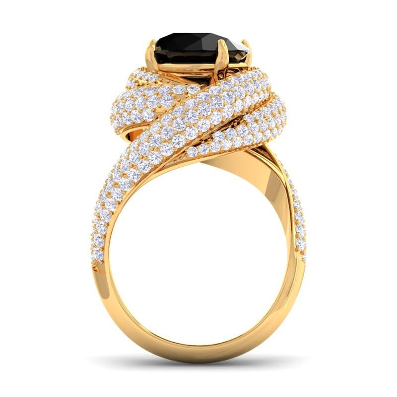 Black diamond gh si diamonds gemstone engagement ring for Black diamond wedding rings for women