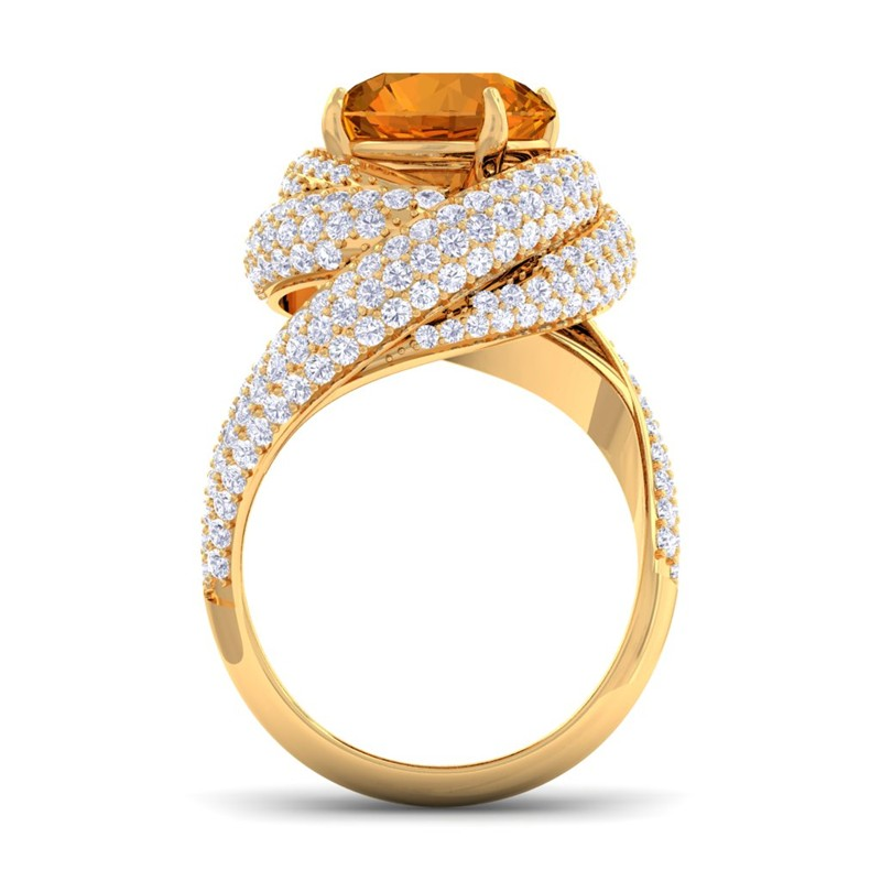 orange citrine fg si diamonds gemstone engagement ring
