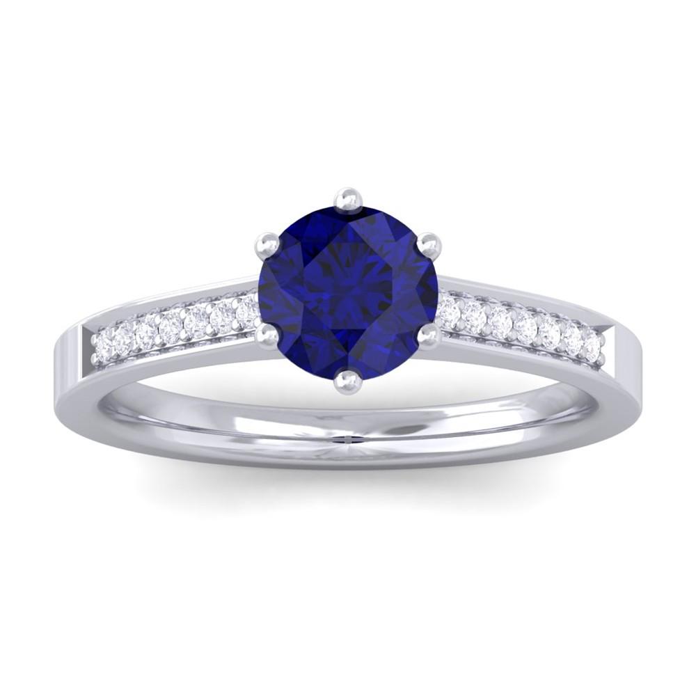 blue sapphire engagement ring 14k white