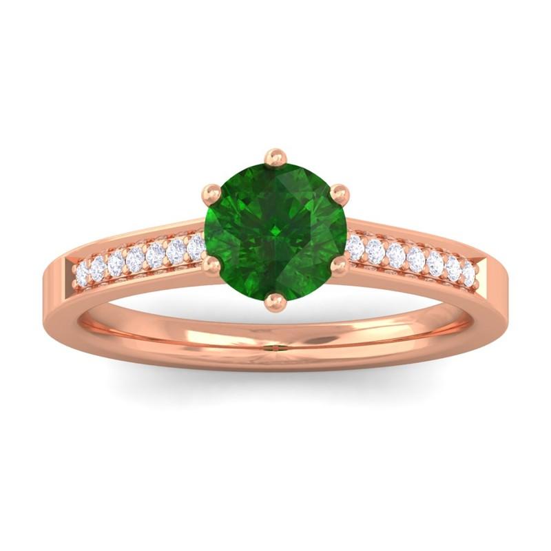 Green-Emerald-FG-SI-Diamond-Gemstone-Engagement-Ring-Women-18K-Rose-Gold