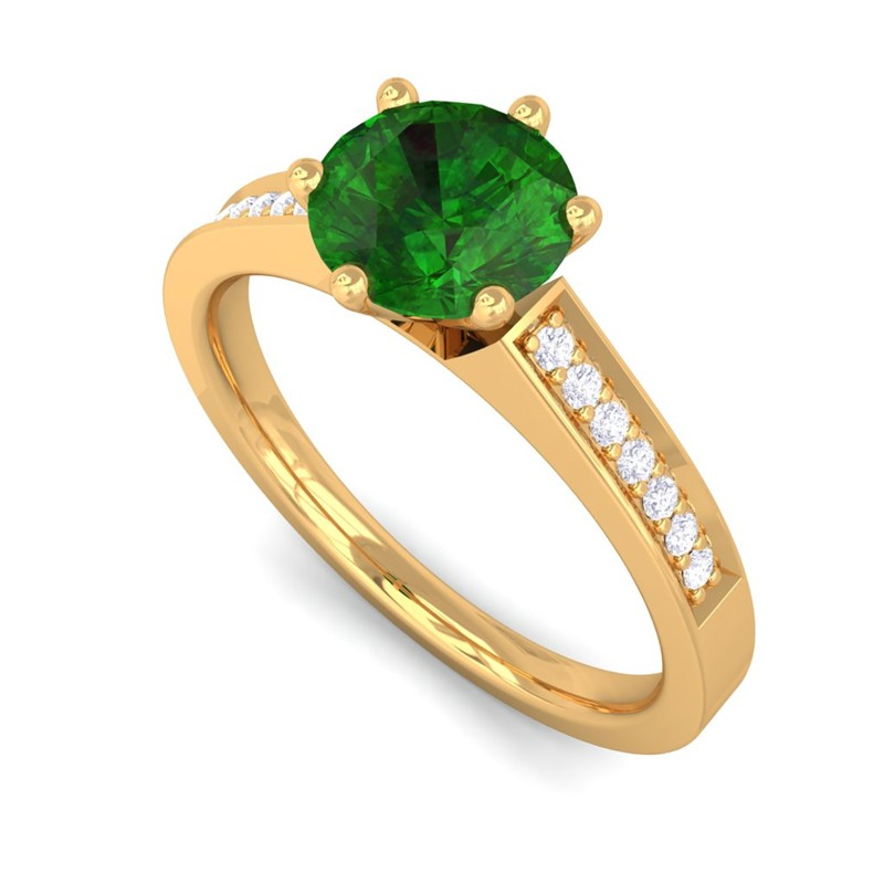 green emerald gh si diamond gemstone engagement ring women. Black Bedroom Furniture Sets. Home Design Ideas
