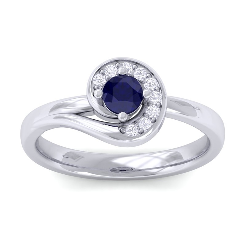 Blue-Sapphire-IJ-SI-Round-Diamond-Gemstone-Fashion-Ring-Women-18K-White-Gold