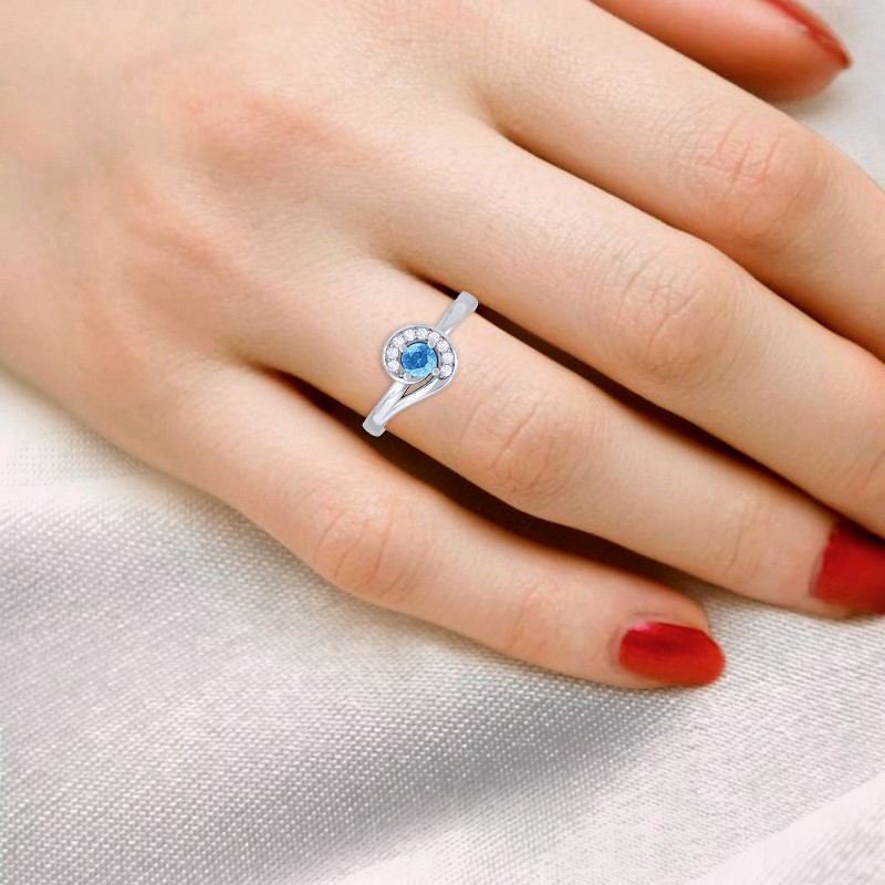 Blue-Topaz-FG-SI-Round-Diamond-Gemstone-Fashion-Ring-Women-18K-Gold
