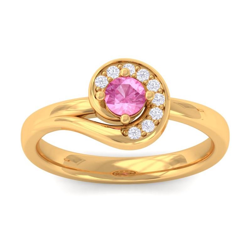 Pink-Sapphire-IJ-SI-Round-Diamond-Gemstone-Fashion-Ring-Women-18K-Yellow-Gold