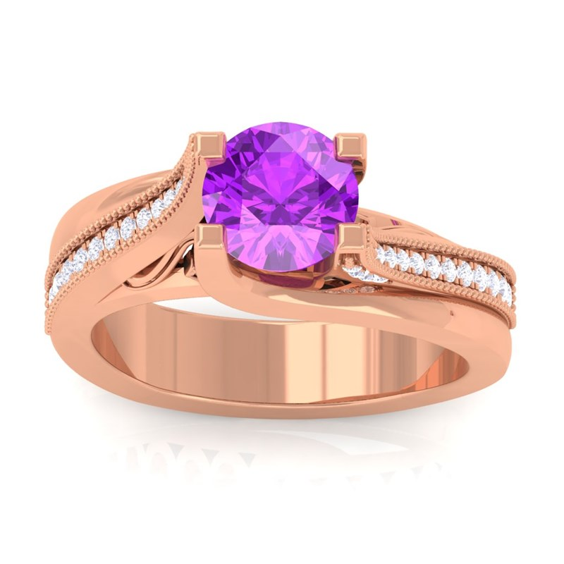 purple amethyst ij si gemstone diamonds engagement ring. Black Bedroom Furniture Sets. Home Design Ideas
