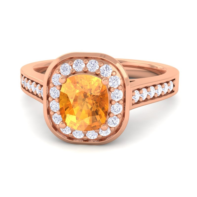 orange citrine ij si diamonds cushion gemstone engagement