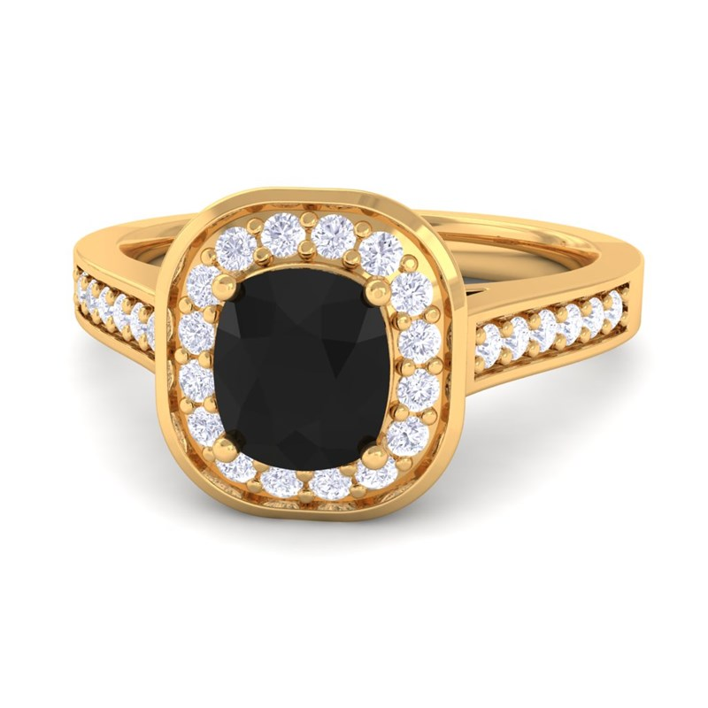 Black yx GH SI Diamonds Cushion Gemstone Engagement Ring 10K Gold
