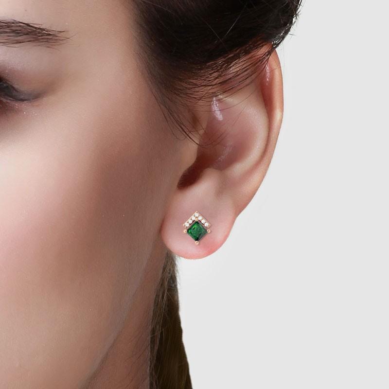 Green-Emerald-FG-SI-Diamonds-Princess-Gemstone-Stud-Earrings-14K-Gold