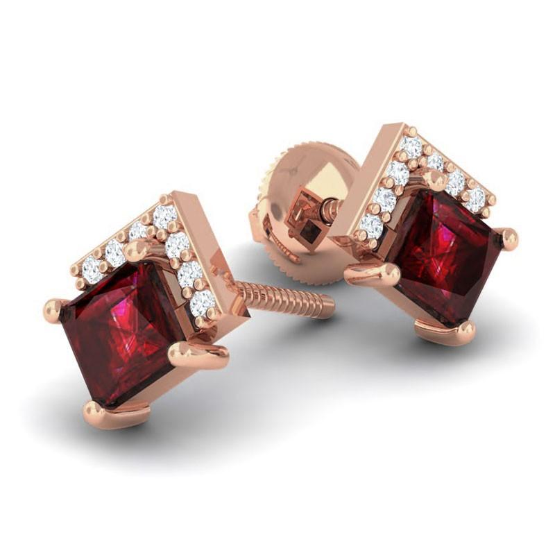 Red-Garnet-FG-SI-Diamonds-Princess-Gemstone-Stud-Earrings-14K-Gold