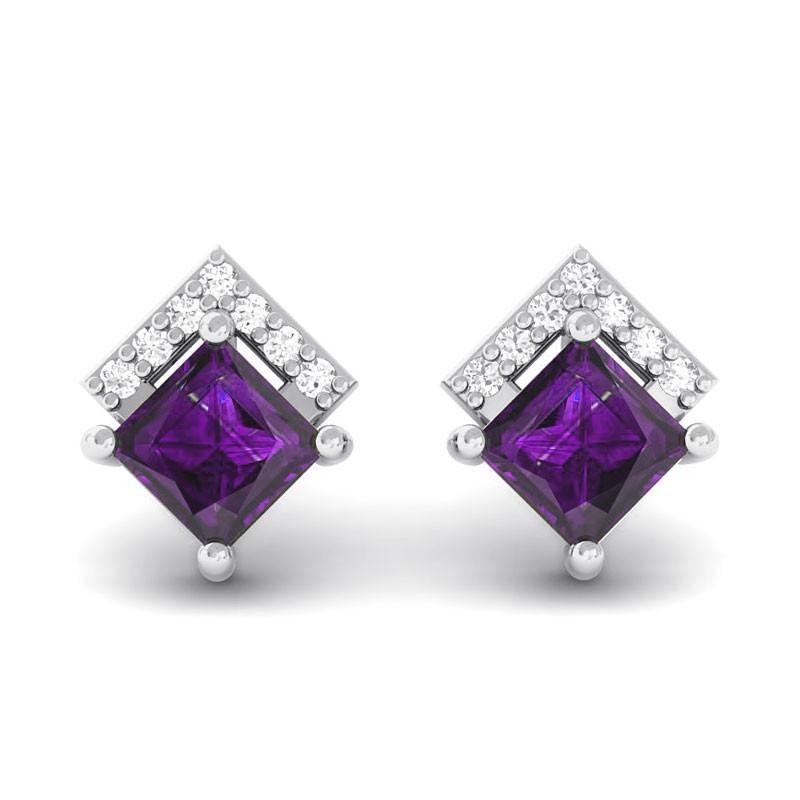 Purple-Amethyst-Natural-Diamonds-Princess-Gemstone-Stud-Earrings-18K-White-Gold