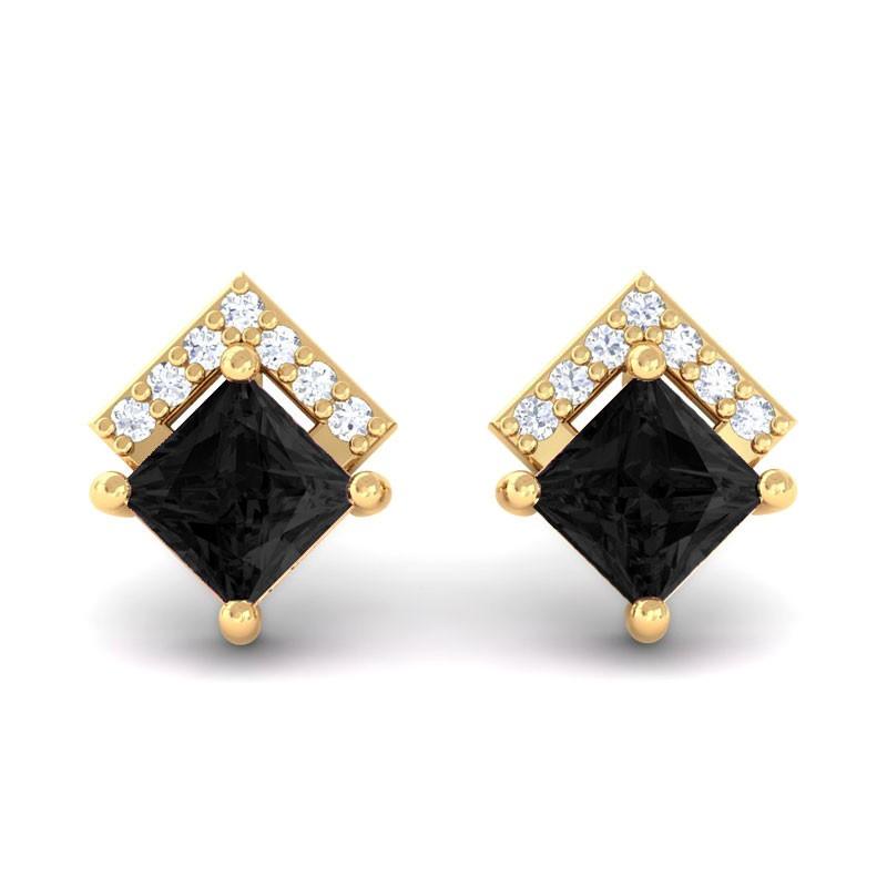 Black-Diamond-Natural-Diamonds-Princess-Gemstone-Stud-Earrings-10K-Yellow-Gold