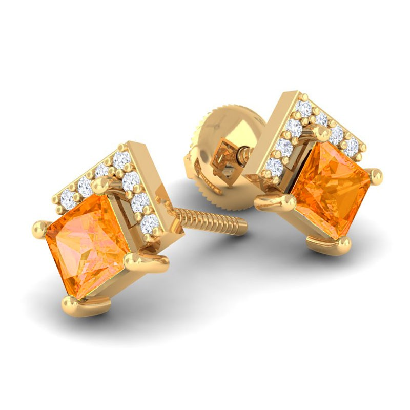 Orange-Citrine-FG-SI-Diamonds-Princess-Gemstone-Stud-Earrings-18K-Gold