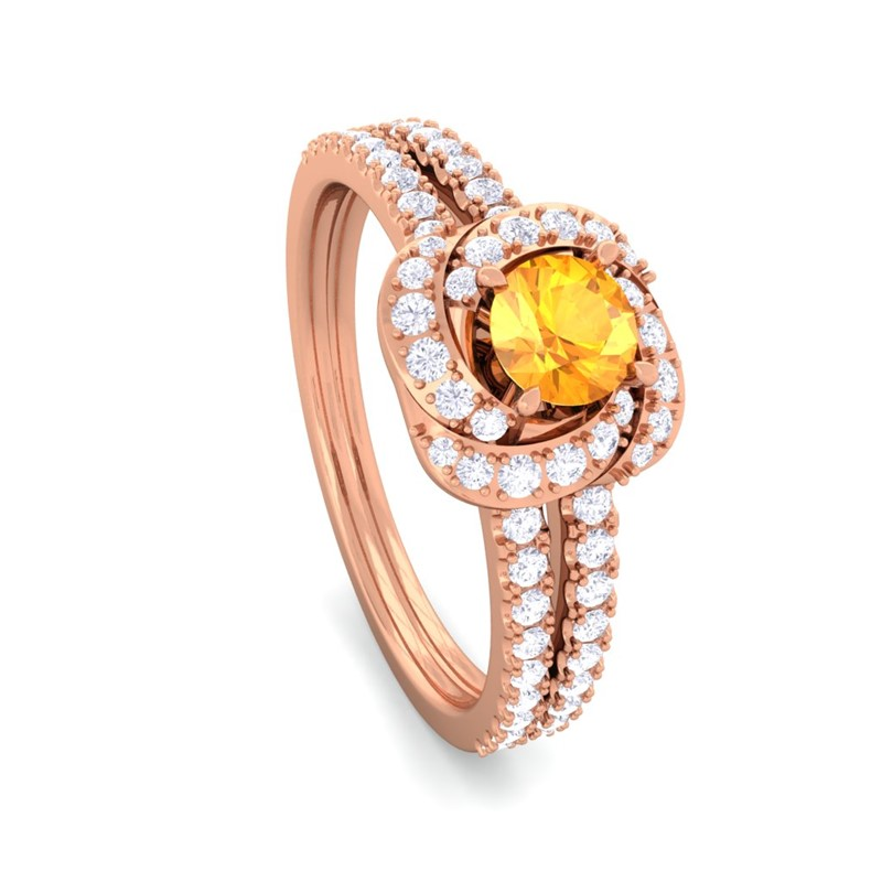 Orange-Citrine-FG-SI-Gemstone-Flower-Fine-Diamond-Fashion-Ring-18K-Gold