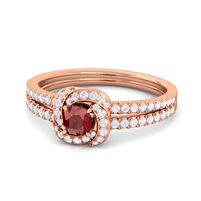 Red-Garnet-FG-SI-Gemstone-Flower-Fine-Diamond-Fashion-Ring-18K-Gold
