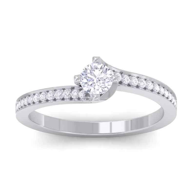 0-29ct-FG-SI-Solitaire-Diamond-Side-Stone-Women-Engagement-Ring-10K-White-Gold