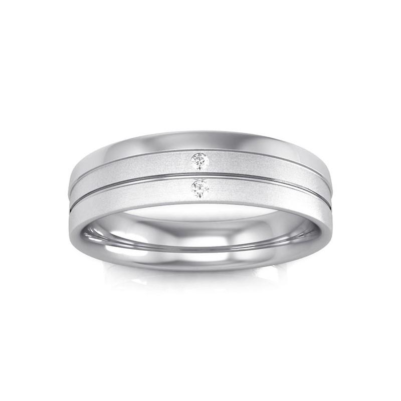 0-07ct-FG-SI-Classic-Men-Diamond-Wedding-Band-Ring-Glossy-Matte-10K-White-Gold