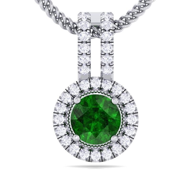 Green-Emerald-Sparkling-Diamond-Round-Gemstone-Pendant-Women-14K-White-Gold