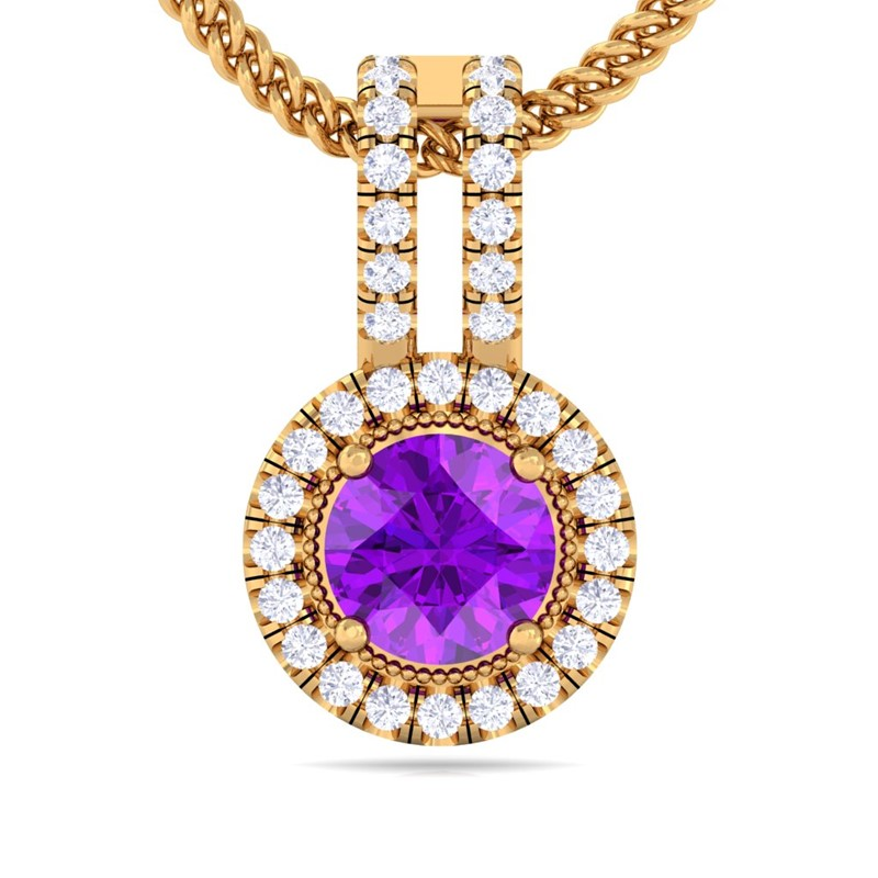 Purple-Amethyst-GH-VS-Fine-Diamond-Round-Gemstone-Pendant-Women-Yellow-Gold