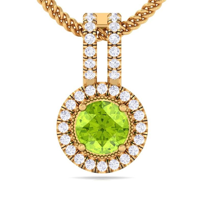 Green-Peridot-Sparkling-Diamond-Round-Gemstone-Pendant-Women-14K-Yellow-Gold
