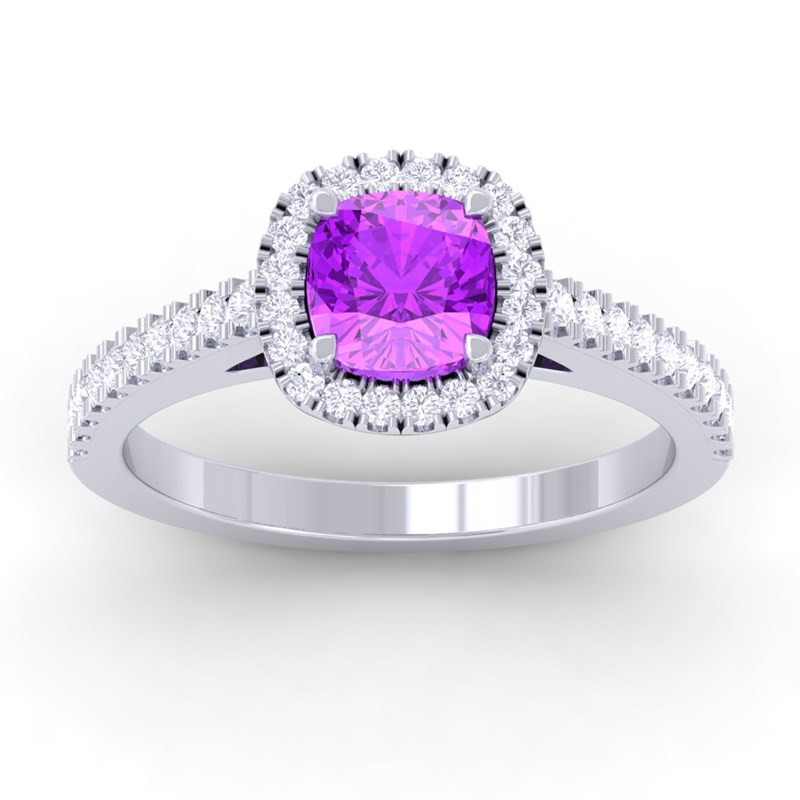 100 real purple amethyst gemstone cushion
