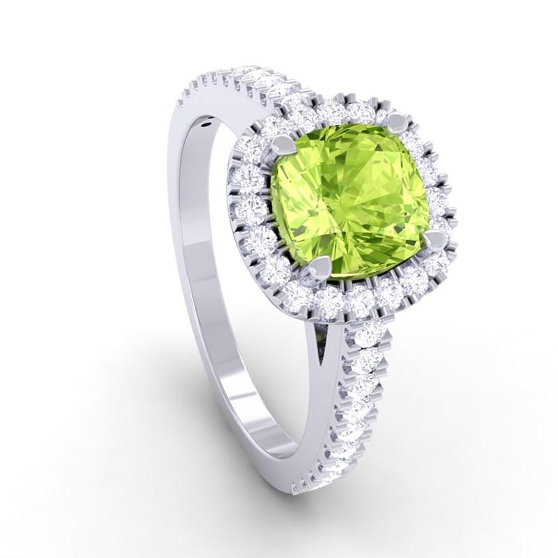 Green Peridot FG SI Diamonds Halo Gemstone Engagement Ring