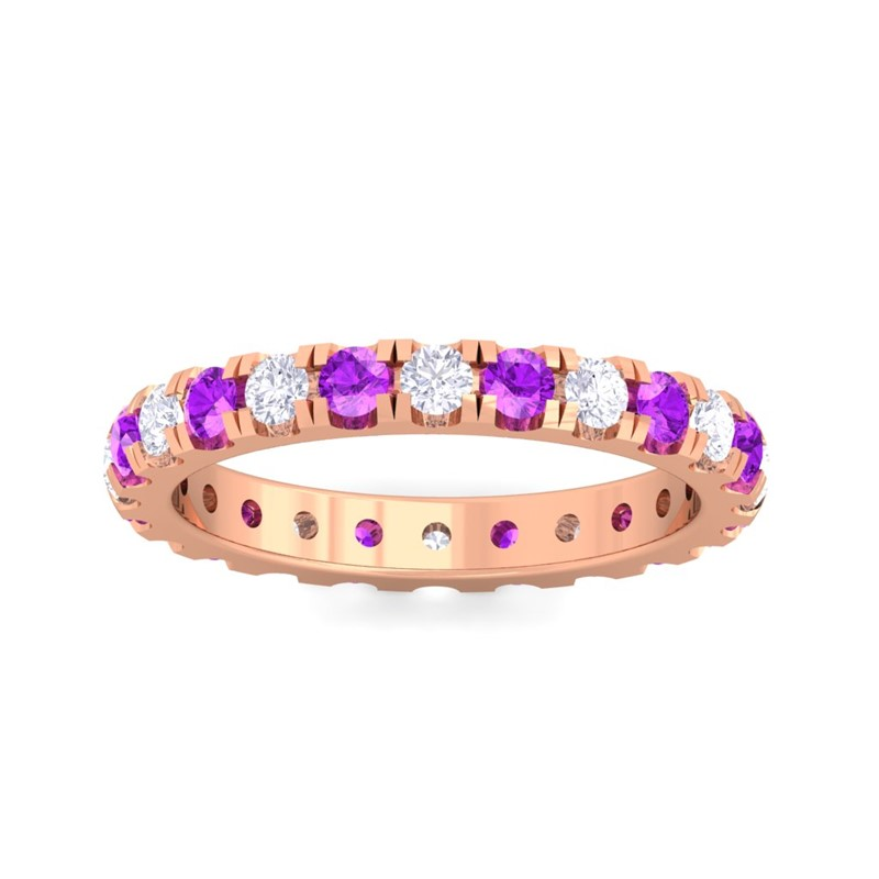 Purple-Amethyst-IJ-SI-Sparkling-Multi-Stones-Full-Eternity-Ring-14K-Rose-Gold