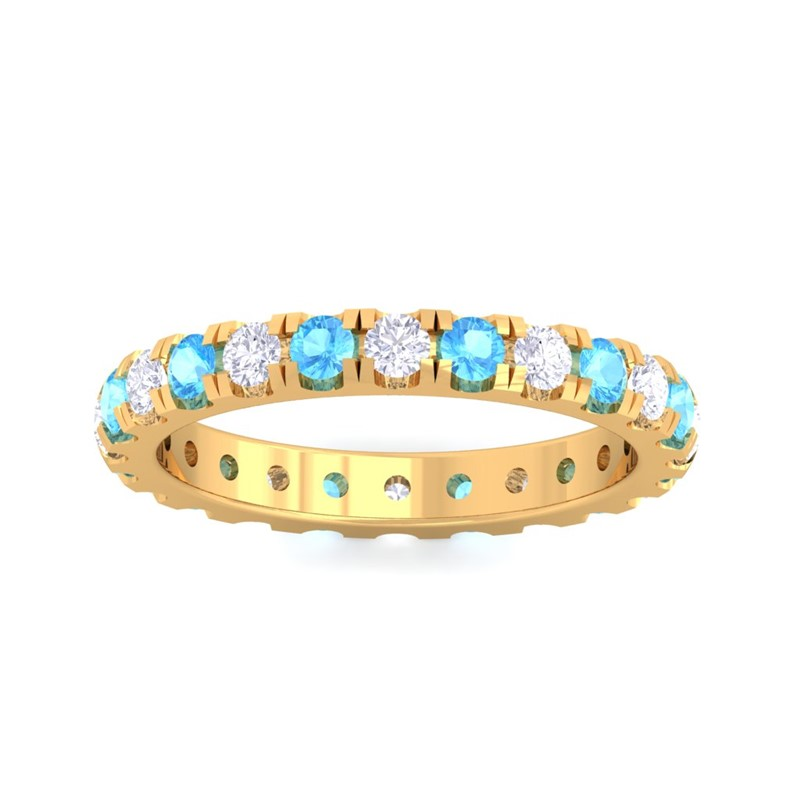 Blue-Topaz-FG-SI-Sparkling-Multi-Stones-Full-Eternity-Ring-18K-Yellow-Gold