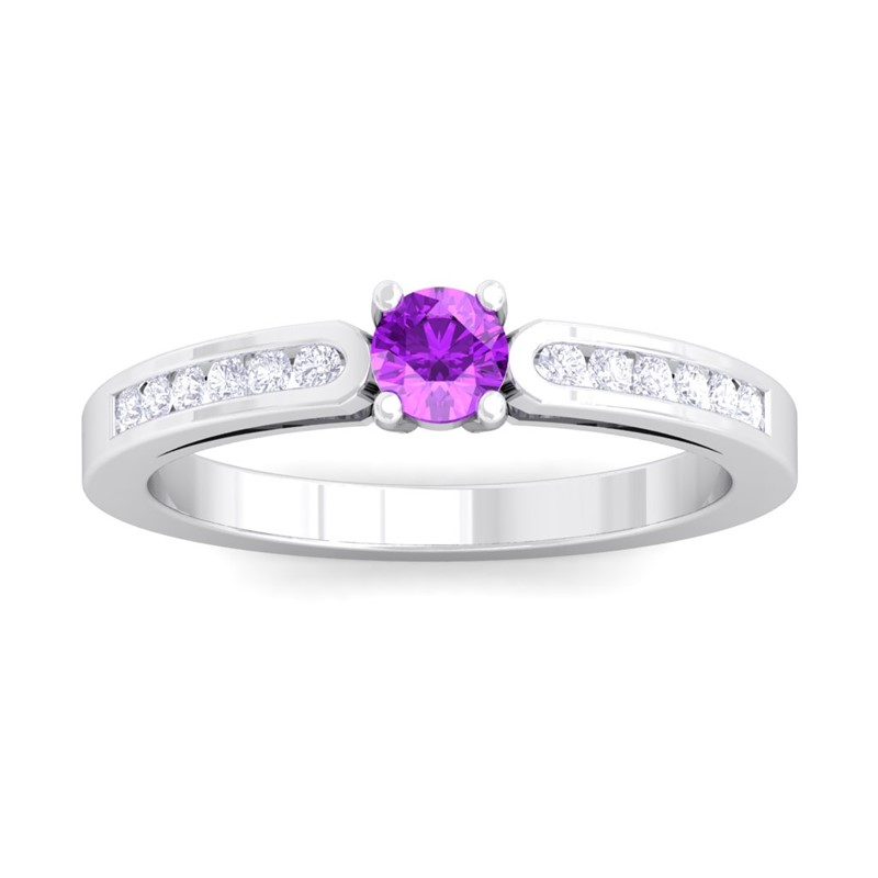 Purple-Amethyst-IJ-SI-Fulgent-Gemstone-Diamonds-Engagement-Ring-10K-White-Gold
