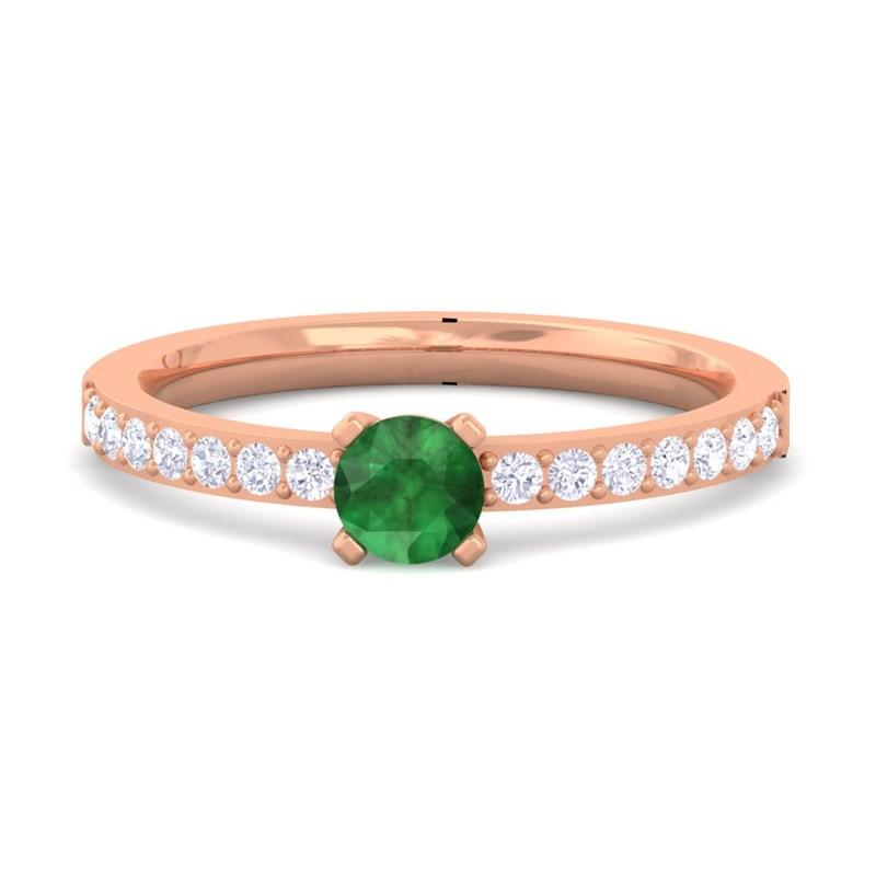 Green-Emerald-GH-VS-Diamonds-Gemstone-Ring-Women-Dailywear-Rose-Gold